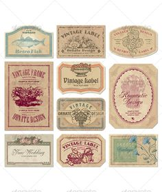 Buy Vintage labels set (vector) by milalala on GraphicRiver. set of vintage labels with antique engravings; scalable and editable vector illustrations grunge effect in s. Vintage Frames, Vintage Prints, Vintage Photos, Papel Vintage, Vintage Paper, Design Retro, Vintage Designs, Printable Labels, Printable Paper