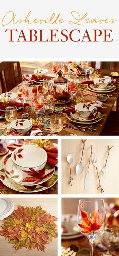 Warm up your tabletop with this flat-out gorgeous Pier 1 tablescape, featuring our Asheville Leaves Dinnerware. Hand-painted glassware and gleaming metallic finishes on flatware and serveware coordinate beautifully gathered at the table. Our beaded table runner and layered leaves placemat bring the best of fall to life.