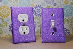 SET Of Light Purple Angel Dust Glitter Switch Plate & Glitter Outlet Cover by SwankElectric,