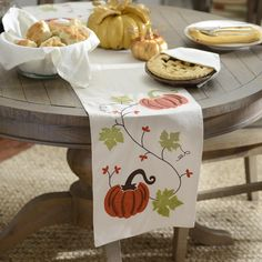 Enjoy the fall season with the Fall Leaves Table Runner.