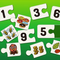 Łączenie obrazka z cyferką, zabawa w puzzle