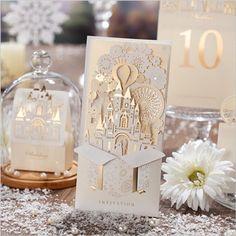 Inviting Card 50 pcs Romantic Castle Elegant Golden Paper Laser Cutting Event Party Supplies 3D Wedding Invitation Invitation Decor