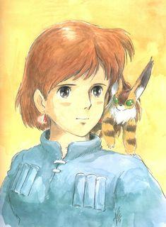 Nausicaa of the Valley of the Wind. Watercolor illustration by Hayao Miyazaki. Hayao Miyazaki, Totoro, Good Animated Movies, Japanese Animated Movies, Studio Ghibli Art, Studio Ghibli Movies, Nausicaa, Fox Squirrel, Cool Animations