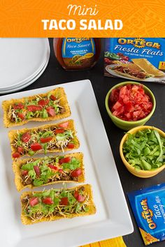 Looking for a great Cinco de Mayo appetizer idea? Take a fan favorite, taco salad, and serve it in Ortega's Fiesta Flats to make Mini Taco Salads! Fiesta Flats allow all the ingredients to stay put, from plate to mouth. Game Night Snacks, Game Day Food, Party Snacks, Mexican Food Recipes, Dinner Recipes, Ethnic Recipes, Leftover Taco Meat, Mini Tacos, Game Day Appetizers
