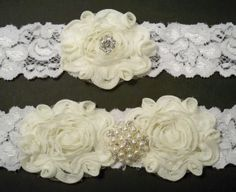 Ivory and White Garter Set by BloomsandBlessings on Etsy