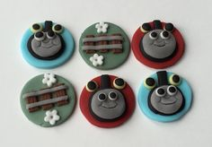 12 x edible icing Thomas the Tank Engine themed cupcake toppers by ACupfulofCake on Etsy £19.50