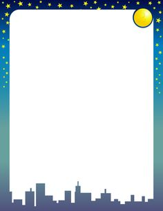 Border clip art with a city skyline beneath a sky filled with the moon and stars. Free downloads at http://pageborders.org/download/moon-and-stars-border/
