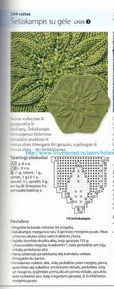 从中心开始编织的图案 - maomao - 我随心动 Knitting Charts, Lace Knitting, Knitting Stitches, Knitting Patterns Free, Knit Patterns, Crochet Lace, Stitch Patterns, Knitted Blankets, Knitted Hats