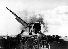 Deck crash on USS Enterprise.