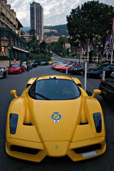 Ferrari Enzo in YELLOW!!!!! Very rare! And look at all the tasty goods behind it.