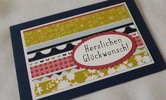 Doppelkarte mit Einlegebogen und Umschlag, verpackt in einer Klarsichthülle, Größe C6 Handgemachte Geburtstagskarte aus hochwertigem Karten- und Designpapier mit gestempeltem Spruch. Farben: mitt...
