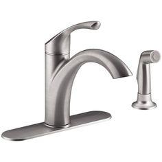 KOHLER Mistos Single-Handle Standard Kitchen Faucet with Side Sprayer in Stainless Steel-K-R72508-VS - The Home Depot