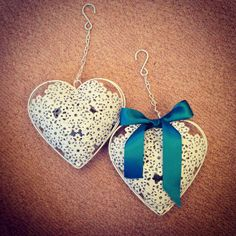 Metal heart shaped t light holders to hang from the trees, personalised with ribbon #wedding #DIY