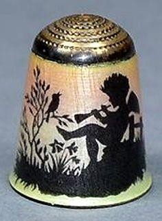 RP:  Antique Enamel Thimble - Piper Cherub  | eBay.com