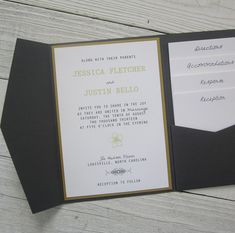 Grey and Yellow Wedding Invitation  Pocketfold by RiverCityStudio, $7.50