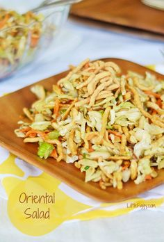 Full of bright flavors and a dressing you'll want to drink on it's own, Oriental Salad, a great take along to any party or picnic. @LittleFiggyFood