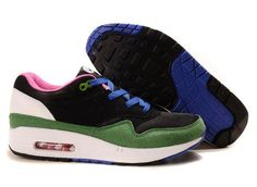 Nike Air Max Shoes Nike Air Max 87 Green Pink Royal Blue Black White [Nike Air Max 87 - The incredibly popular Nike Air Max 87 Green Pink Royal Blue Black White is what you need to have on your feet when you need to make a lasting impression. Air Max 1, Nike Air Max 87, Nike Air Max White, Cheap Nike Air Max, Nike Roshe Run, Nike Shox, Sneaker Stores, Latest Mens Fashion, Mens Nike Air