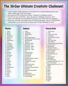 This one should be interesting... 30 Day Ultimate Creativity Challenge by BlueNephelim.deviantart.com on @DeviantArt