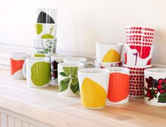Marimekko mugs and cups Finland Marimekko, Nordic Interior, Kitchen Styling, Scandinavian Style, Finland, Simple Designs, Tea Pots, Pattern Design, North Europe