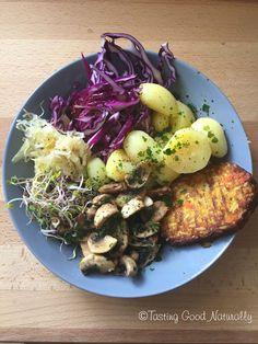 Tasting Good Naturally : Tofu, champignons, pommes de terre et crudités #vegan