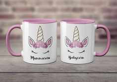 5.99 GBP - Mummacorn & Babycorn Cute Unicorn Pink And White Cup Mother And Daughter Mug Set #ebay #Home & Garden
