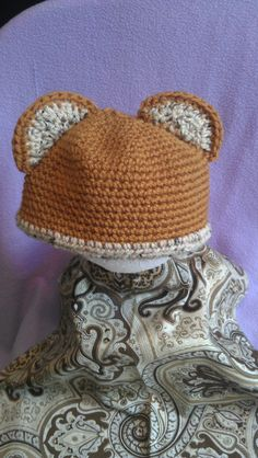 Baby Bear Crochet Beanie in browns by BriesCreations on Etsy, $15.99