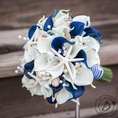 Nautical wedding bouquet seashell bouquet navy blue calla