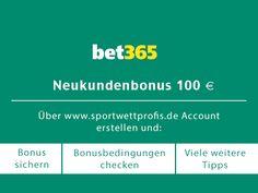 bis zu 100€ Bonus gibt es bei Sportwetten Anbieter bet365. http://sportwettprofis.de erklärt wie du dir den Bonus sichern kannst
