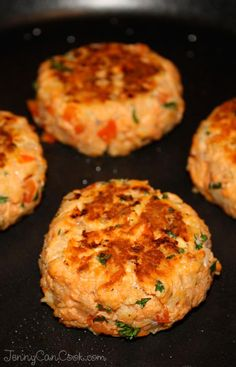 Salmon Patties Recipe from Jenny Jones (JennyCanCook.com) - Canned salmon makes a quick and easy healthy dinner, ready in 15 minutes.