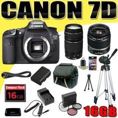 Canon EOS 7D 18 MP CMOS Digital SLR Camera w/ Canon EF-S 18-55mm f/3.5-5.6 IS Lens & Canon EF 75-300mm f/4-5.6 III Telephoto Zoom Lens LPE6 Battery/Charger Filter Kit 16GB Tripod DavisMAX Bundle by DavisMAX. $1435.87. This DavisMAX Bundle Includes: 1- Canon EOS 7D 18 MP CMOS Digital SLR Camera Brand New USA w/Manufacturer's Supplied Accessories 1- Canon EF-S 18-55mm f/3.5-5.6 IS Lens Brand New USA w/Manufacturer's Supplied Accessories 1- Canon EF 75-300mm f/4-5.6 III Telephoto Z...