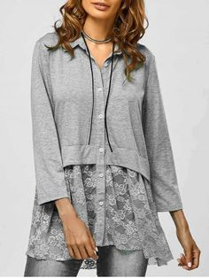 GET $50 NOW | Join RoseGal: Get YOUR $50 NOW!http://www.rosegal.com/blouses/lace-trim-smock-blouse-841262.html?seid=7345518rg841262