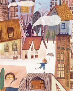 Perfecting his rain dance. Illustration by ☂⁣ . Illustration Courses, Landscape Illustration, Illustration Artists, Children's Book Illustration, Watercolor Illustration, Tableaux D'inspiration, Dancing In The Rain, Rain Dance, Pretty Drawings