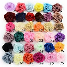 Satin Ribbon Rose Flower Bow Wedding Decoration Appliques DIY 36 Colors in  Crafts 6fb67b2f8f15