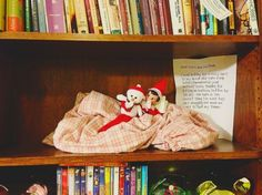 Easy Elf ideas that just take a minute to pull together: LOve this snuggled with a favorite blankie idea.