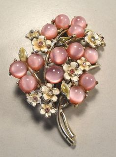 50's Flower Enamel Glass Moonglow Crystal Rhinestone Brooch
