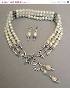 Victorian Pearl Choker Necklace Set by AlexiBlackwellBridal, $79.00