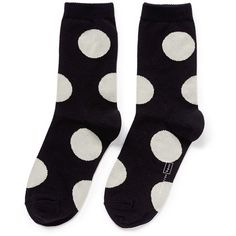Hansel From Basel 'Rie Dot' crew socks ($18) ❤ liked on Polyvore featuring intimates, hosiery, socks, black, crew socks, polka dot hosiery, black hosiery, patterned hosiery and polka dot socks