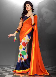 Distinguishable Embroidered Work Georgette Casual Saree