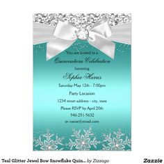 Dusty rose taupe quinceaera invitation teal glitter jewel bow snowflake quinceanera 5x7 paper invitation card stopboris Gallery