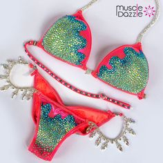 Coral Inspired Crystal Bikini Competition Suit