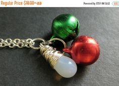MOTHERS DAY SALE Christmas Bells Necklace. Holiday Necklace. Christmas Necklace in Red and Green. Silver Necklace. Handmade Jewelry. by TheTeardropShop from The Teardrop Shop. Find it now at http://ift.tt/1ragrMn!