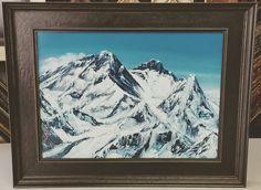 Mount Everest painting framed in @larsonjuhl's Marais for our friend Jim Walkley who just returned from Everest! #art #pictureframing #customframing #painting #everest