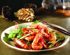 Vietnamese Style Prawns with beer and fresh herbs
