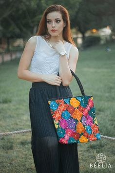 Hand embroidered Mexican floral bag