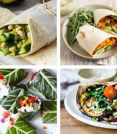 These filling Vegan Wraps are healthy, easy to make and packed with tasty, plant-based ingredients. Make them for work or school lunch and you won't get hungry 'til dinner! Easy Vegan Lunch, Quick Vegan Meals, High Protein Vegan Recipes, Vegan Lunches, Healthy Meal Prep, Healthy Snacks, Healthy Wraps, Dinner Healthy, Healthy Drinks