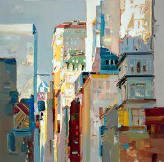 "Josef Kote ""The City That Never Sleeps"" 48x48 Original Acrylic on Canvas"