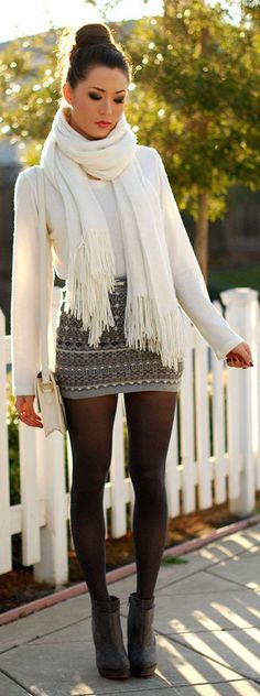 #fall #fashion / white knit layers