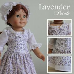 """A colonial style dress made for 18"""" American Girl dolls."""