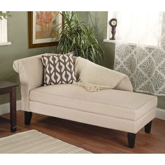 This modern, stylish storage chaise is an attractive and functional addition to any space. It offers comfortable lounge-like seating with storage for items such as linens and pillows. This versatile piece will fit with almost any decor.