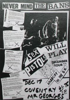 Jamie Reid | Poster for a gig by the Sex Pistols at Mr. George's, Coventry, UK, Dezembro 1977